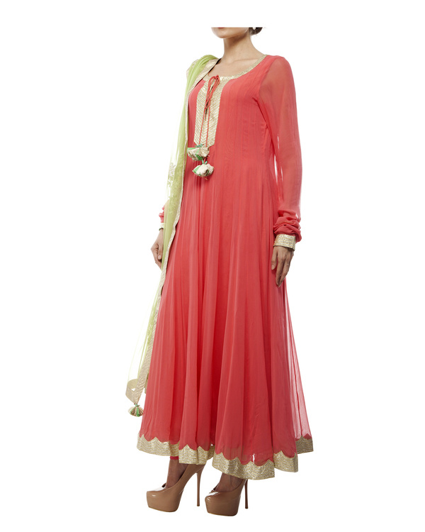 Coral Viscose georgette anarkali set 3