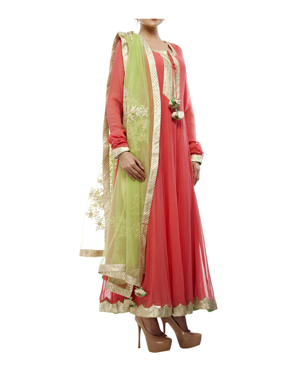 Coral Viscose georgette anarkali set 4