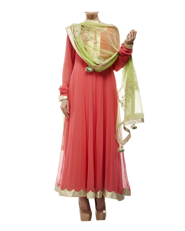 Coral Viscose georgette anarkali set 5