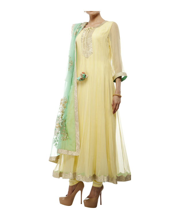 Yellow Viscose georgette anarkali set 2