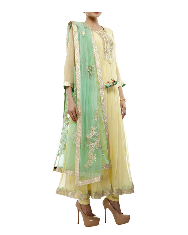 Yellow Viscose georgette anarkali set 3