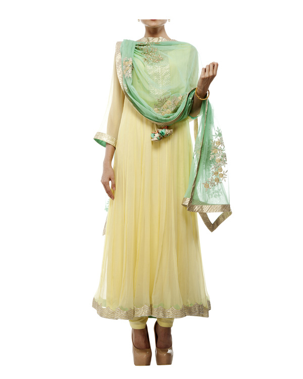 Yellow Viscose georgette anarkali set 4