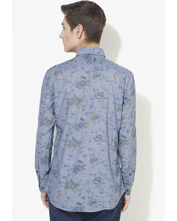 Blue floral printed casual shirt 1