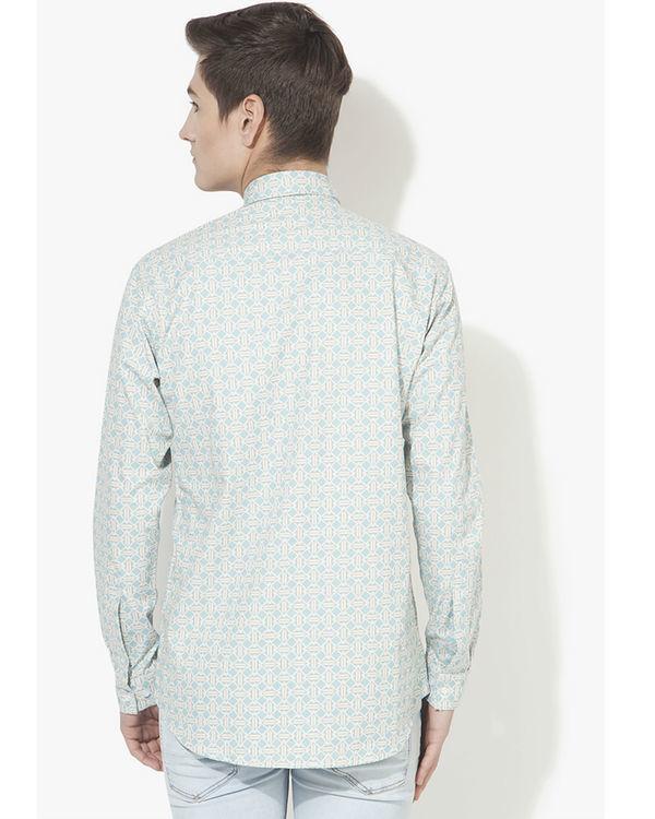 Light blue long diamond printed casual shirt 1