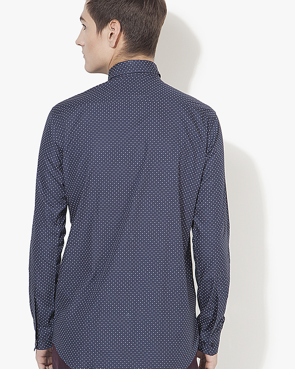 Dark blue polka dot printed casual shirt 1