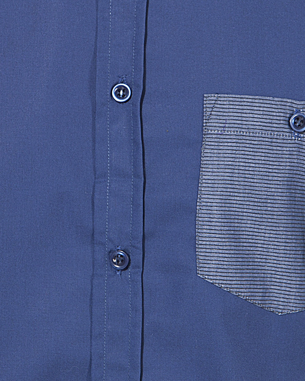 Blue pocket panel casual shirt 2