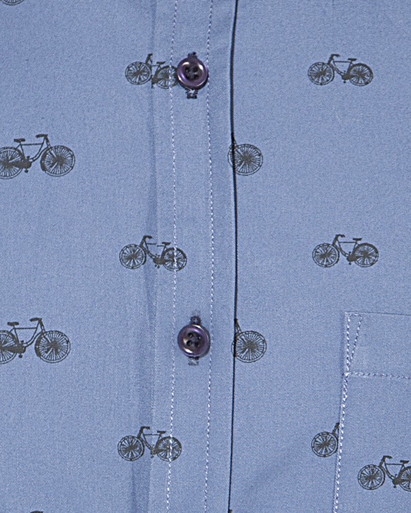 Blue cycle printed casual shirt 2