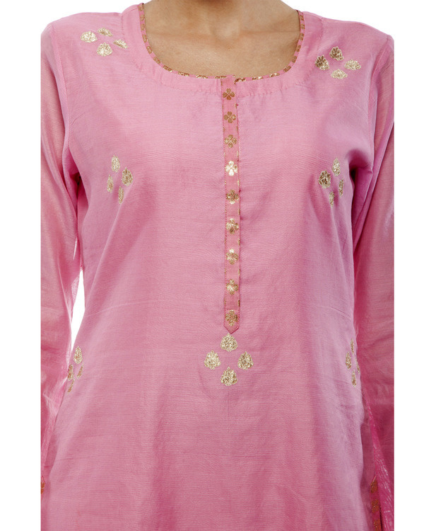 Pink Chanderi straight kurta set 1