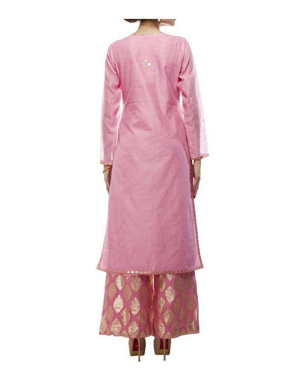 Pink Chanderi straight kurta set 2