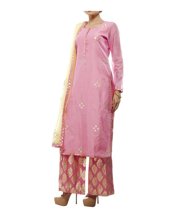 Pink Chanderi straight kurta set 3
