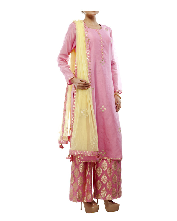 Pink Chanderi straight kurta set 4