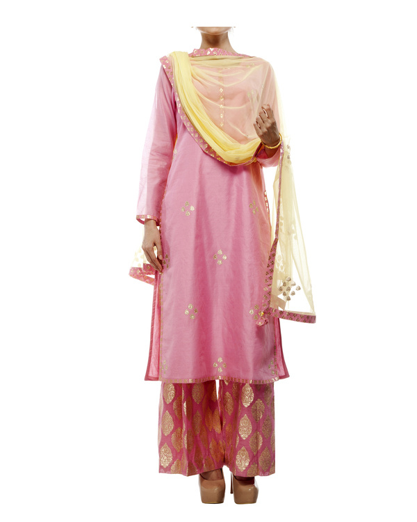 Pink Chanderi straight kurta set 5