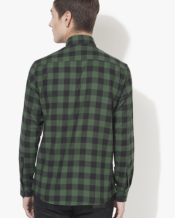 Black & green checks casual shirt 1