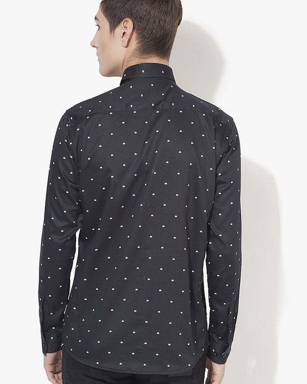 Black boat printed casual shirt 1