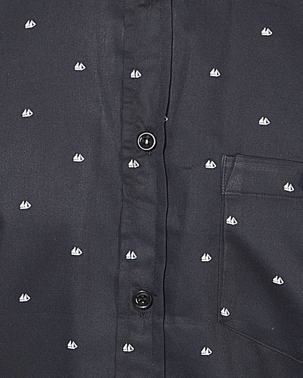 Black boat printed casual shirt 2