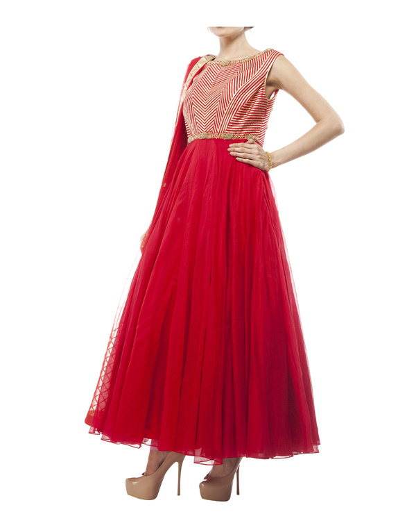 Red Chanderi anarkali Set 3