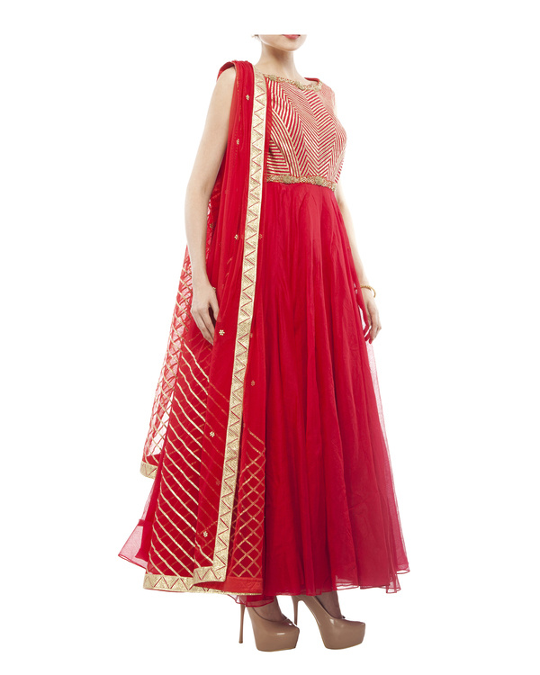 Red Chanderi anarkali Set 4