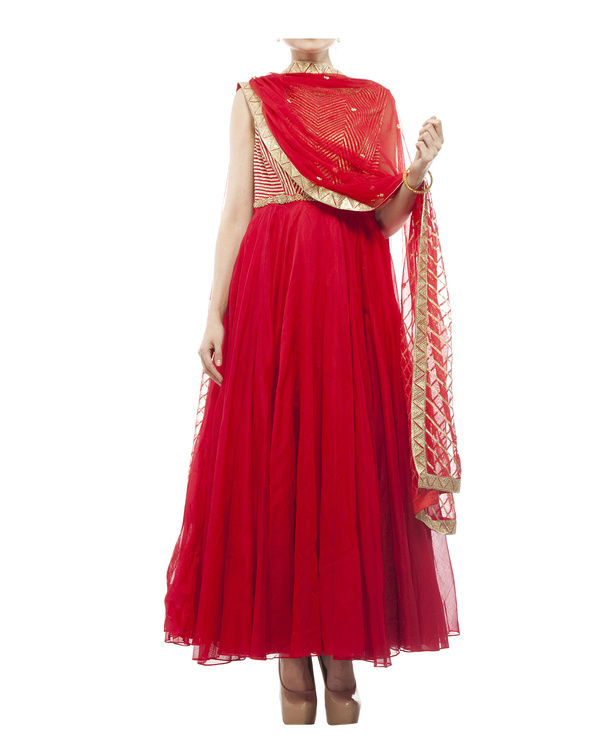 Red Chanderi anarkali Set 5