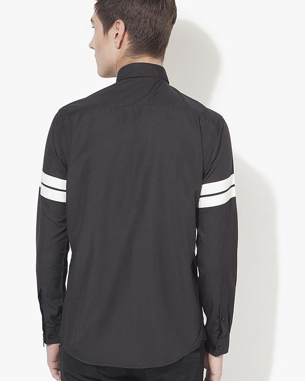 Black & white stripe panel casual shirt 1