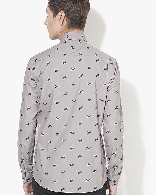 Grey birds printed casual shirt 1