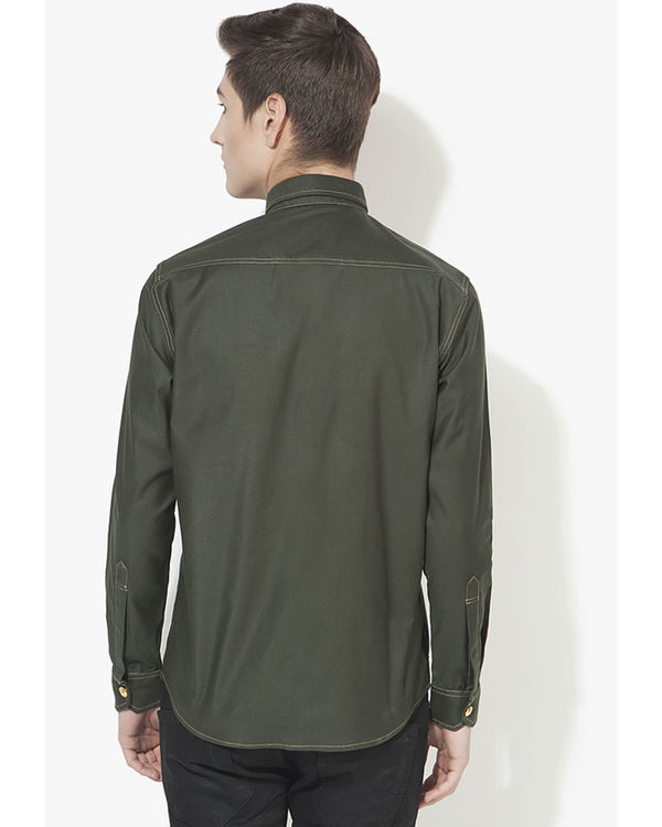 Military green solid casual shirt 1