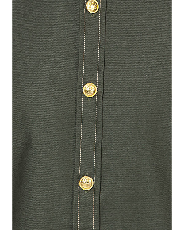 Military green solid casual shirt 2