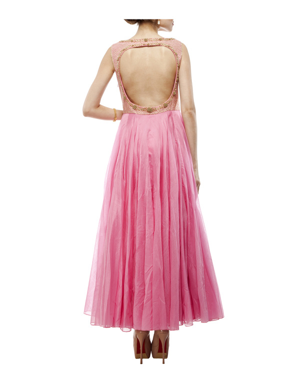 Pink Chanderi anarkali set 2