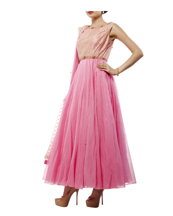 Pink Chanderi anarkali set 3