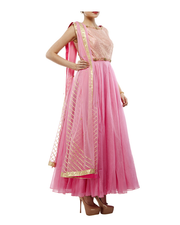 Pink Chanderi anarkali set 4
