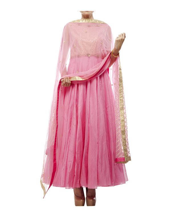 Pink Chanderi anarkali set 5