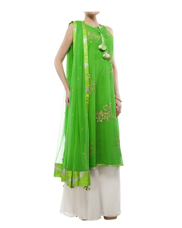 Leaf Green Embroidered kurta set 4