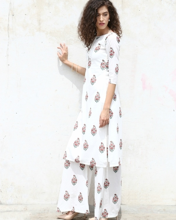 Tunic & Palazzo In Block Printed Florals 3