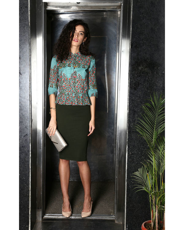 Box Pleated Green Top 1