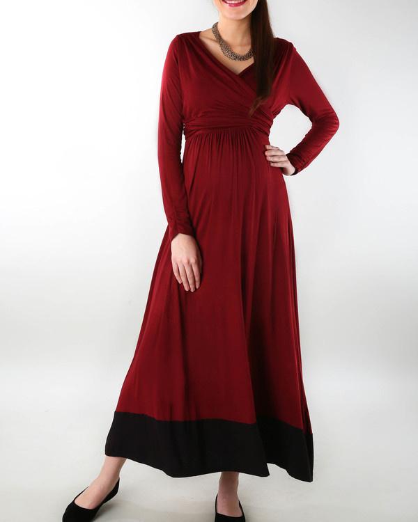 Wine maternity dress 2