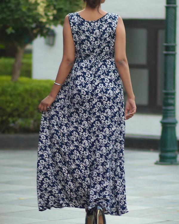 Blue empire maternity dress 1