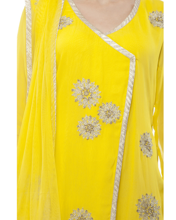 Yellow Embroidered Wrap kurta set 1