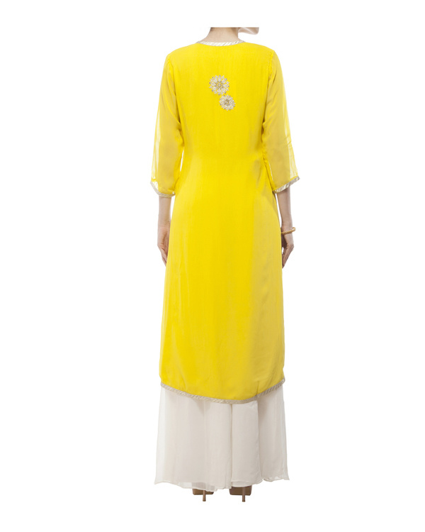 Yellow Embroidered Wrap kurta set 2