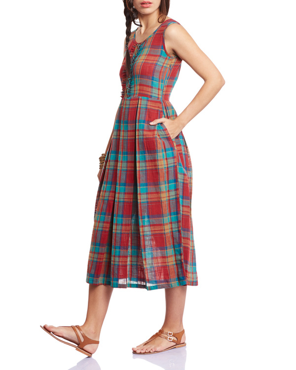 Checkered red pleated dress 1