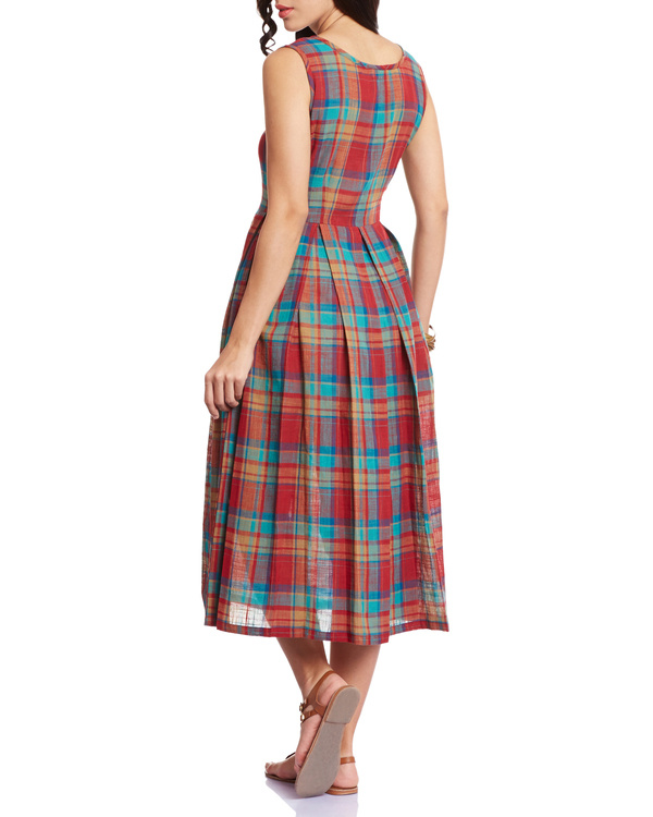 Checkered red pleated dress 2