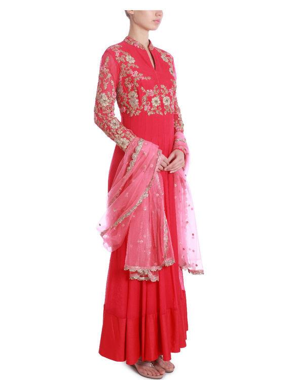 Raspberry pink embellished kalidaar 1