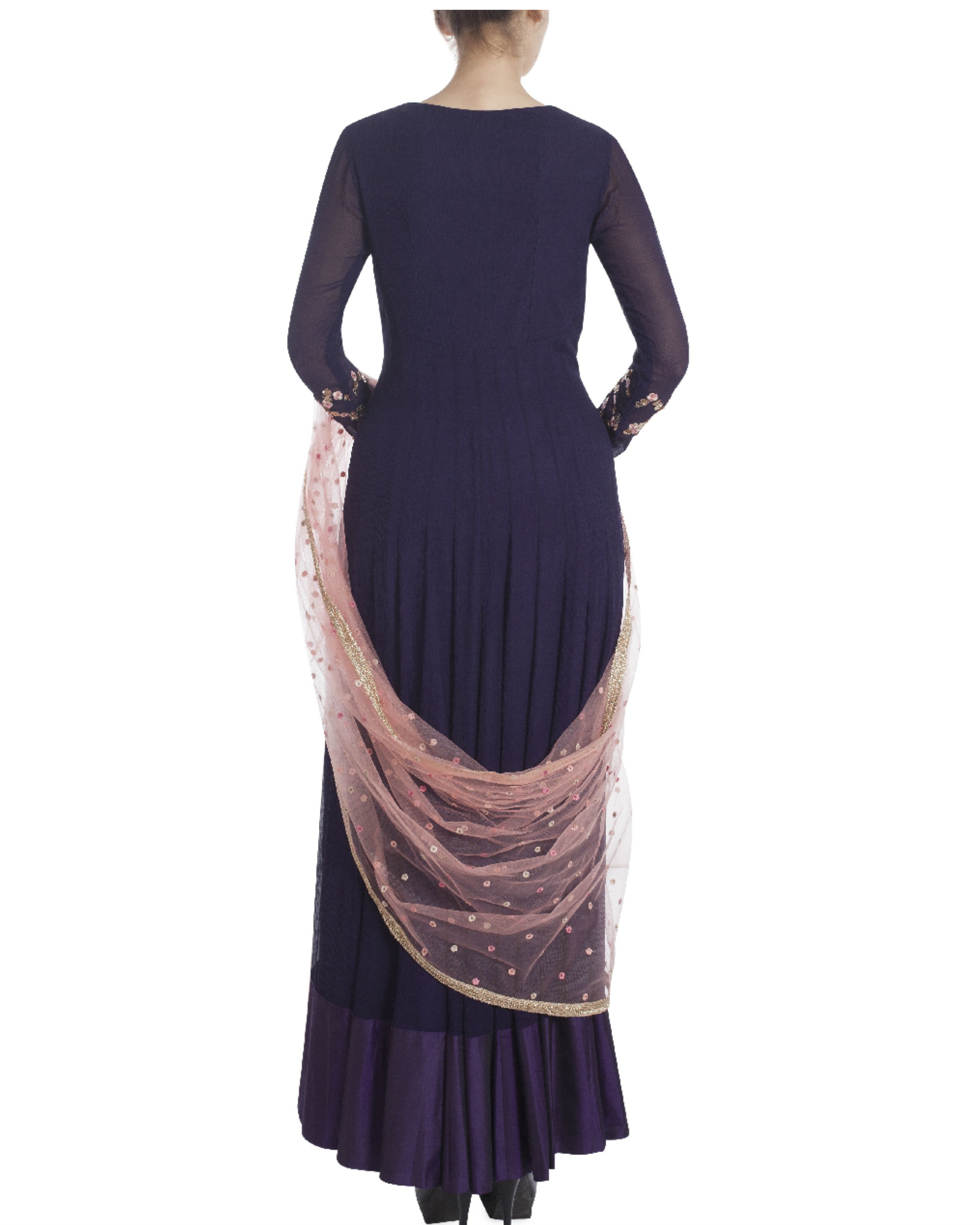 Midnight blue floor length kalidaar by Dolly J | The ...