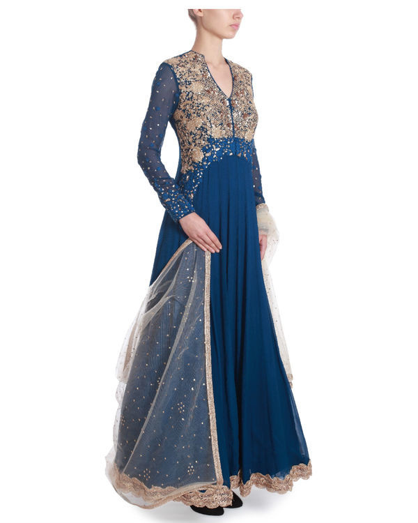 Indigo blue floor length kaidaar 1