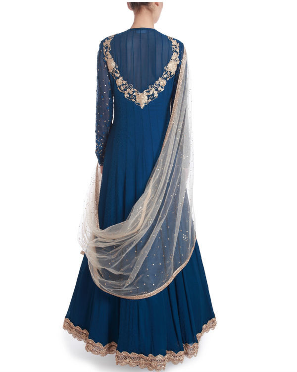Indigo blue floor length kaidaar 2