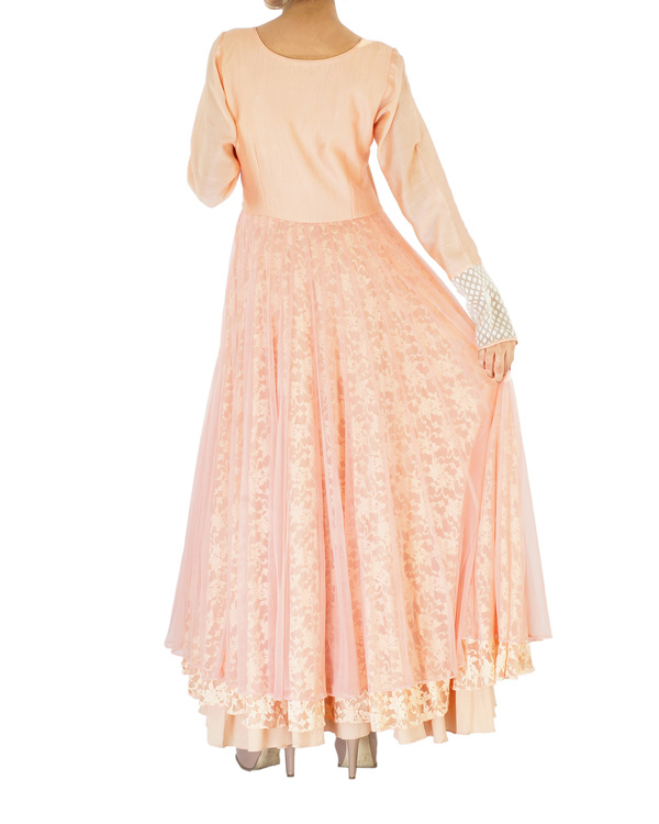 Peach net & lace embroidered anarkali 1