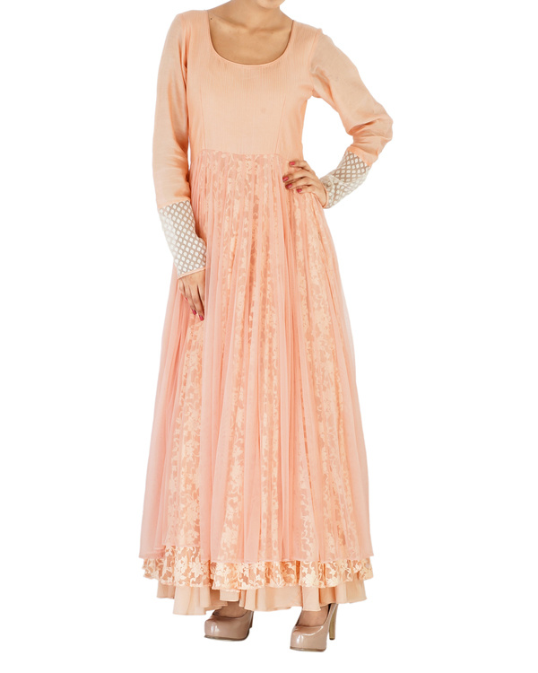 Peach net & lace embroidered anarkali 2