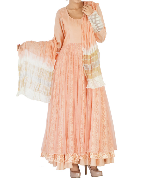 Peach net & lace embroidered anarkali 3