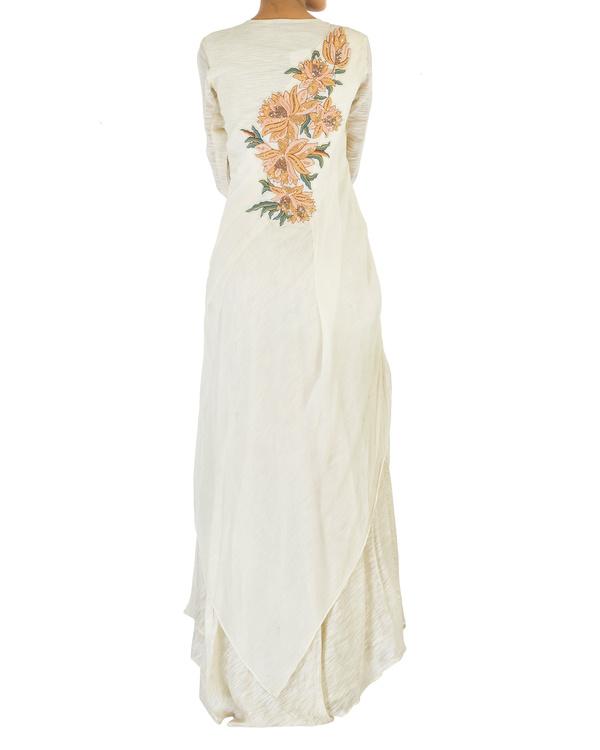 Off white draped chiffon dress 1