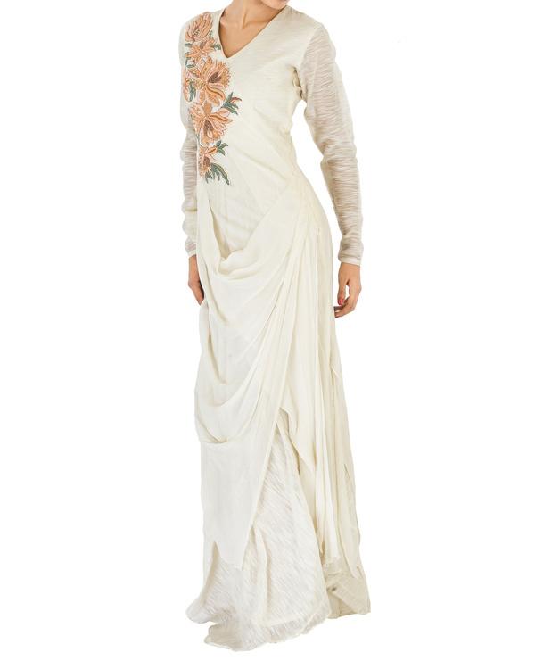 Off white draped chiffon dress 2