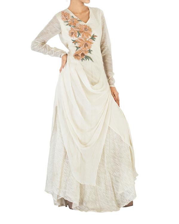 Off white draped chiffon dress 3