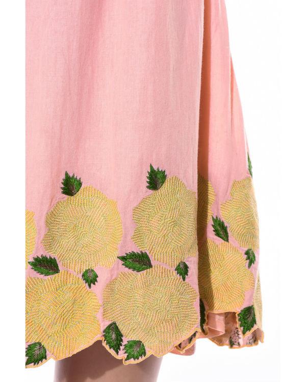 Off shoulder floral linen dress 2